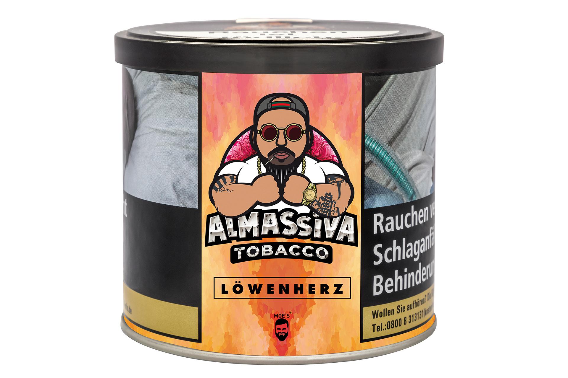 "ALMASSIVA ""LÖWENHERZ"" SHISHA TABAK PFIRSICH HIMBEERE DRACHENFRUCHT"